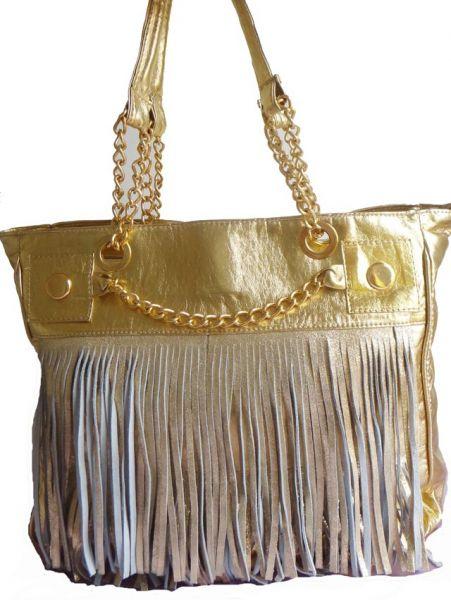 Bolsa Dourada Com Franja : Biv bolsa de franja dourada com correntes biju in